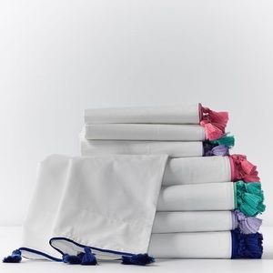PB Teen Twin XL Sheet Set White with Berry Tassles